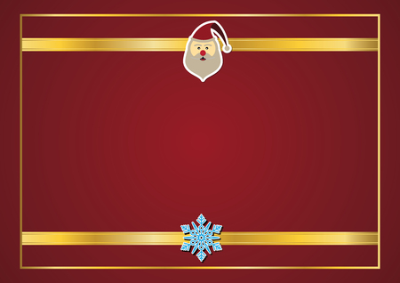 Christmas santa claus with red copy space and gold ribbon frame background vector illustration