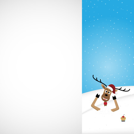 Christmas reindeer wearing red hat on snow hill with white copy space background vector illustration