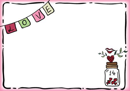 Valentine background. love label and heart bottle. Vector illustration