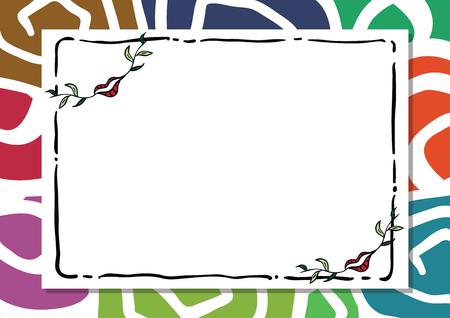 Valentine abstract flower frame background. lip mouth leaf. Vector illustration Illusztráció
