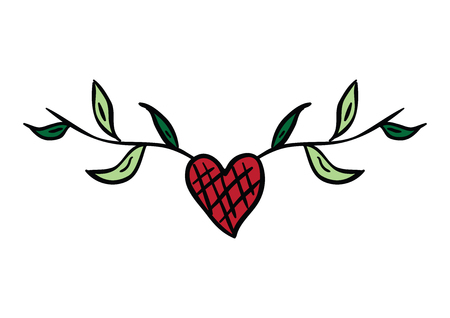 Valentine red heart with leaf. Vector illustration