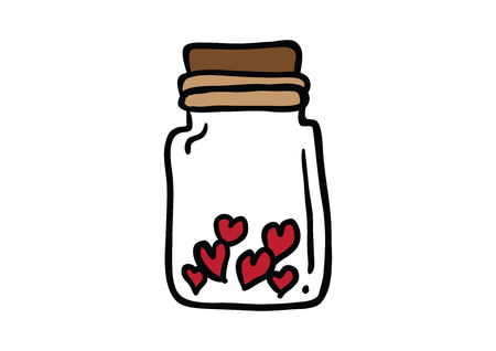 Valentine red heart in bottle. Vector illustration