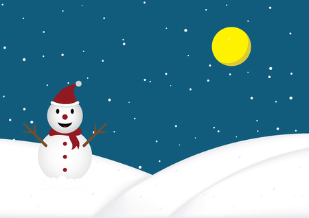 Christmas snow doll with red hat and scarf standing on snow hill with snow background vector illustration