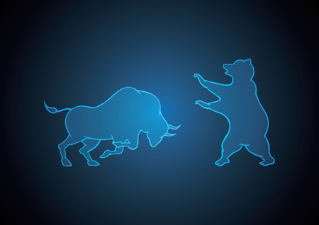 bull and bear blue technology financial business stock market background vector illustration Иллюстрация