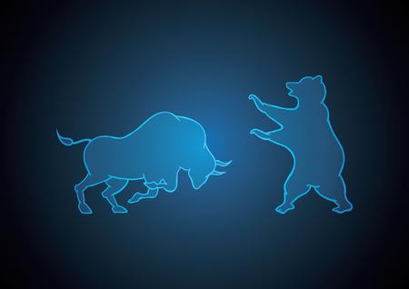 bull and bear blue technology financial business stock market background vector illustration Иллюстрация