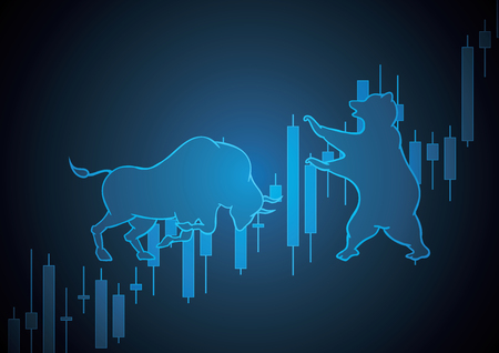 bull and bear blue technology financial business stock market candle stick graph trading background vector illustration Иллюстрация