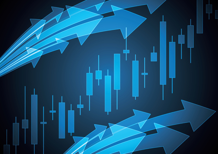 Financial business stock market candle stick graph investment trading background with arrow; Bullish point; vector illustration.