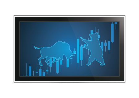 Stock market bull and bear candle stick graph financial business investment trading monitor screen display, vector illustration