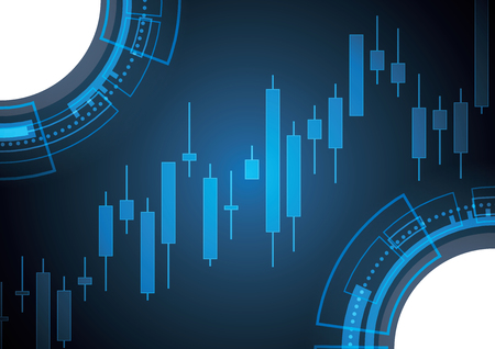 Financial business stock market candle stick graph investment trading background with circle technology; Bullish point; vector illustration.