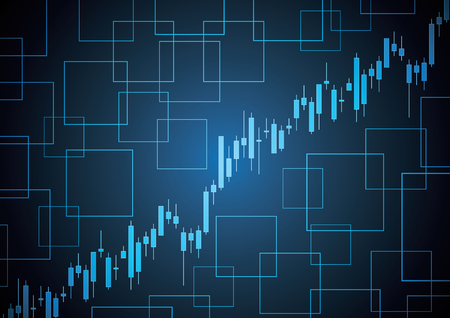 Financial business stock market candle stick graph investment trading background with square shape; Bullish point; vector illustration.