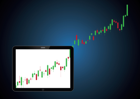 Stock market candle stick graph financial business investment trading screen tablet, vector illustration