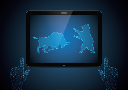 Stock market bull and bear financial business investment trading screen tablet with polygon geometric touch point hand, vector illustration