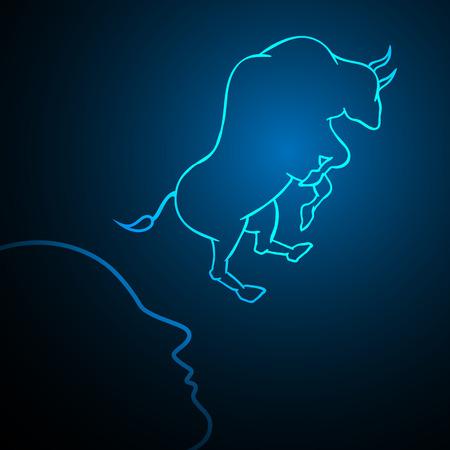 Bull financial business stock market human head vector illustration Иллюстрация