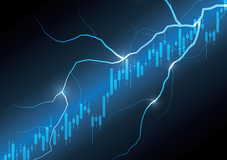 Financial business stock market candle-stick graph thunderbolt investment trading background vector illustration Иллюстрация