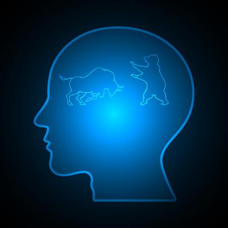 Bull and bear financial business stock market human head vector illustration