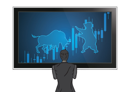 Businessman back view standing looking at bull and bear candle stick graph stock market monitor vector illustration