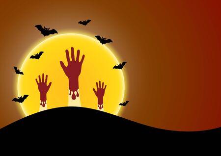 Halloween zombie hand moon bat vector illustration Illusztráció