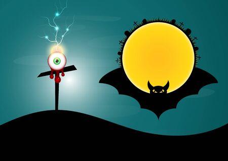 Halloween cross blood eye thunderbolt bat moon circle vector illustration