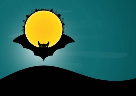 Halloween bat moon circle vector illustration