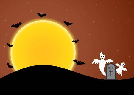 Halloween gravestone ghost bat moon vector illustration Illusztráció