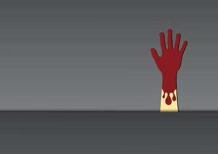 Halloween zombie hand metal plate vector illustration Illusztráció