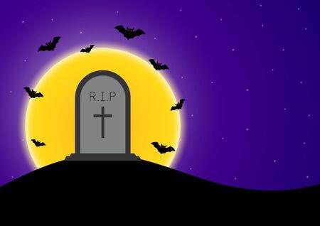 Halloween gravestone bat moon vector illustration