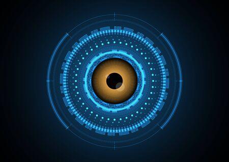 technology abstract eye circle radar background vector illustration
