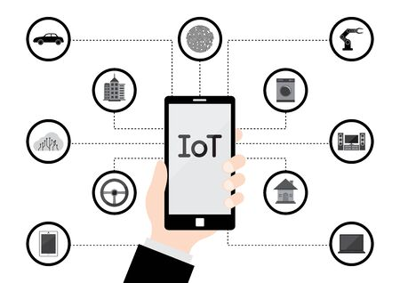 Internet of Things (IoT) Technology, Hand hold mobile phone communicate with things for future life. Stock Illustratie