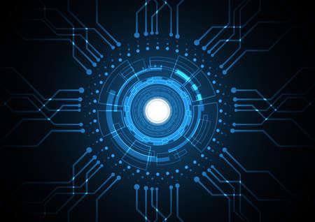 Technology abstract future circuit circle hexagonal background Ilustração Vetorial