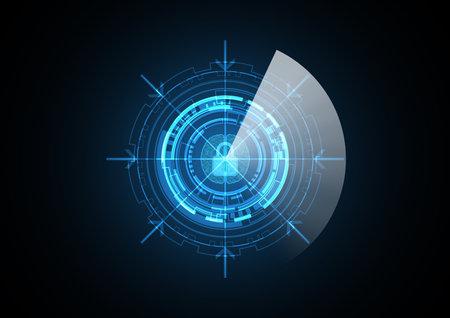 Technology abstract future lock brain radar security circle background vector illustration