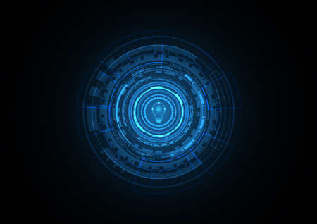 Technology abstract future light bulb circle background vector illustration Illustration