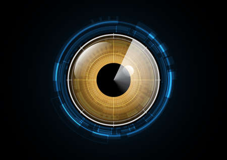 Technology abstract future eye radar security circle background vector illustration Illustration