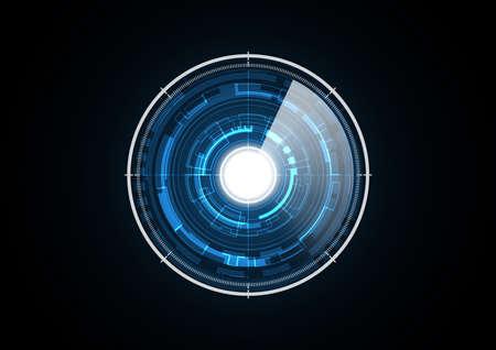 Technology abstract future light radar security circle background vector illustration Illustration