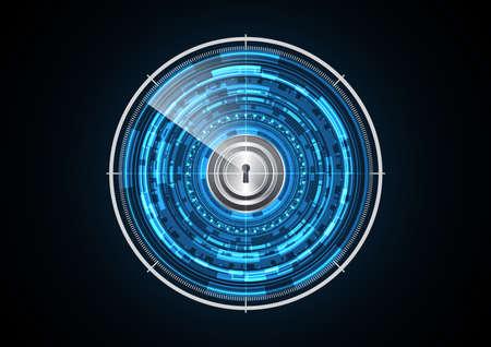 Technology abstract future lock radar circle background vector illustration
