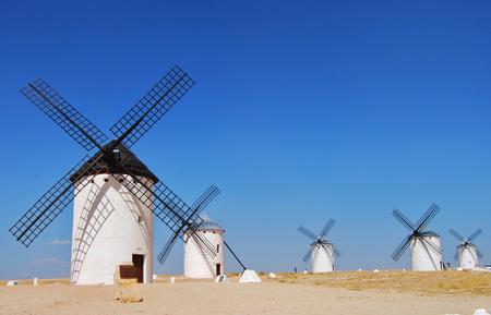 Windmills with blue sky in Campo de Criptana ,Castilla La Mancha,Spain