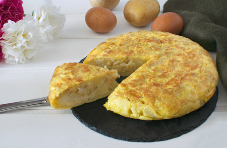 Tortillas de patatas,Spanish potato omelet  版權商用圖片