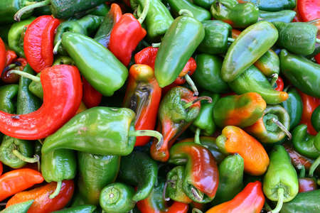 Red and green chili peppers at asia market Stock Photo