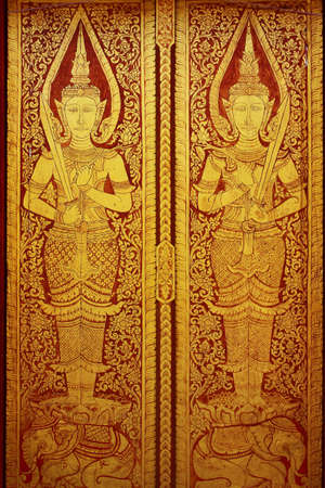 Traditional Thai style painting art on the temple door
