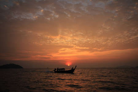 Sunset over the sea in thailand Stock Photo
