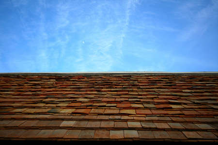 Clay tiles on Thai style roof Stock Photo