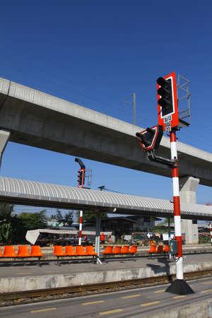 Train signals for railroad and traffic light for locomotive, Bangkok, Thailand