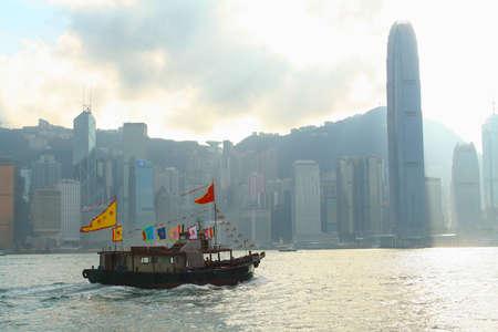 HONG KONG- NOVEMBER 26   Chinese boat through the river at Victoria Harbour on November 26, 2006 in Hong Kong