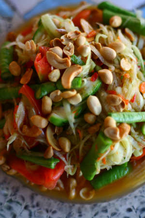 Papaya salad hot and spicy of thai food