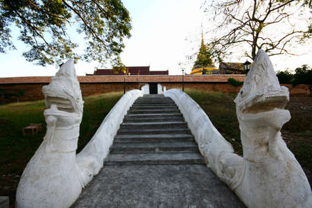 Serpent stairs at Wat Phra That Lampang Luang, Lampang Thailand