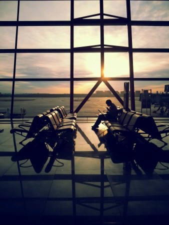 Sun rises at Beijing Airport