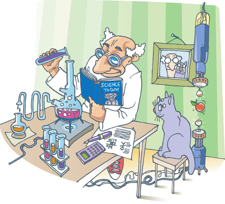 The Scientist and his Cat. A picture about the Scientist, his Cat and a strange experiments.  Vector