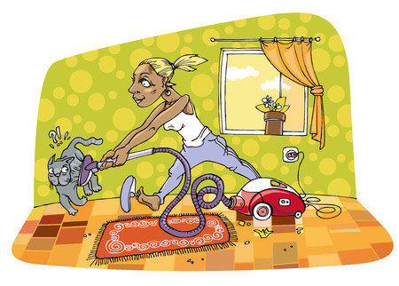 vacuum cleaner worker: The room cleaning. Housewife is cleaning a room with some passion and energy. But the grey cat isn't so lucky during her cleaning.  Illustration