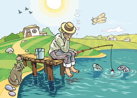 De Hengel sport. Een idyllische scène van de visserij op het platteland. De visser slaapt onder de blauwe hemel, maar de verdachte vissen en de hongerige kat zijn wakker blijven...