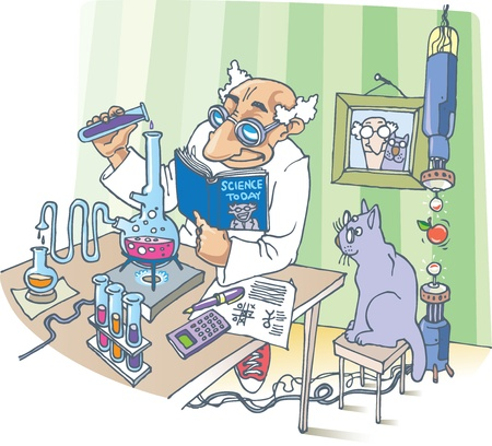 A picture about the Scientist, his Cat and a strange experiments. Vector