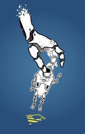 mano robotica: La imagen es sobre el robot, que llegó a ser el elegido inesperadamente. ¿Lo que está esperando para él en el futuro? Vectores